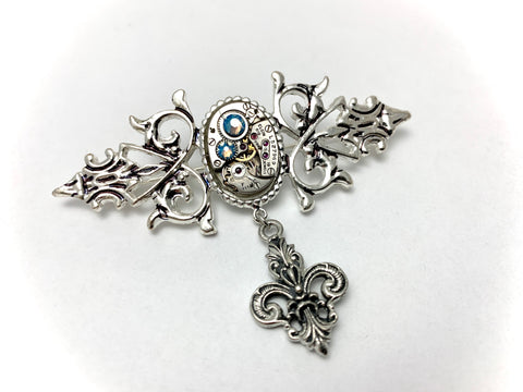 Precious Time - Steampunk Brooch Pin - Repurposed - Upcycled Art