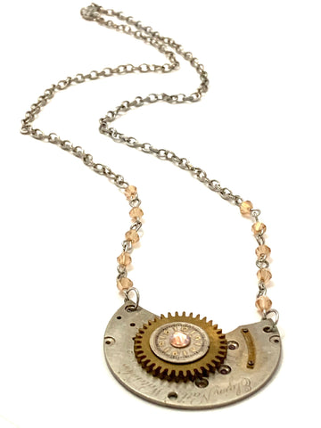 Steampunk Necklace - Juncture - Pocket watch plate - Topaz shimmer Swarovski crystal - gift for mom - Birthday gift for her