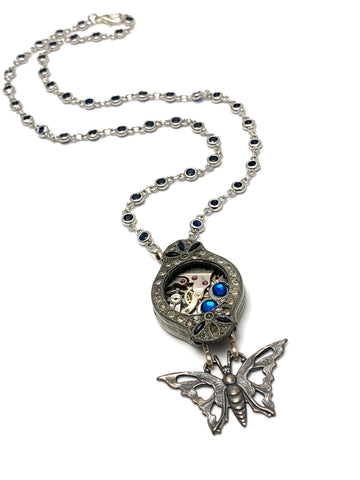 Steampunk watch Sapphire and Diamond case Necklace - Flutter - Butterfly Swarovski crystal - gift for mom - Birthday gift for her