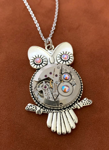 Steampunk Pendant - Who's Time - Steampunk Necklace - Owl pendant Swarovski crystals in Topaz shimmer