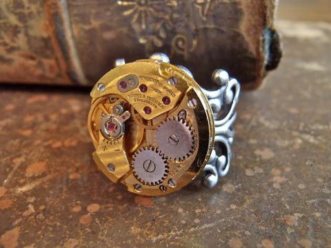 Steampunk Ring - Sphere - Steampunk jewelry made with real vintage watch movements