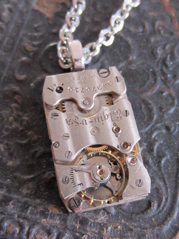Steampunk Necklace -Bullet Proof - Recycled Jewelry made with real watch parts