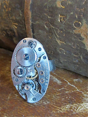 Steampunk ring - The works- Steampunk jewerly made with real vintage watch parts