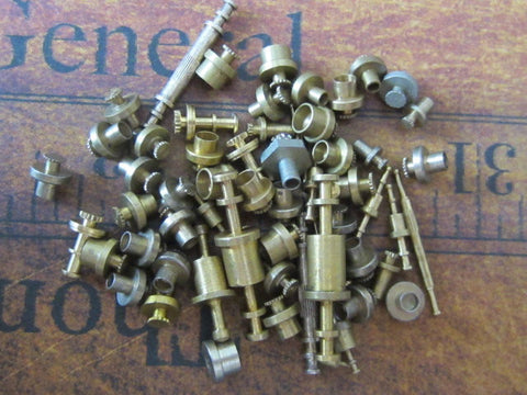 Vintage Brass Clock parts spindles - levers - Robot mix - c42