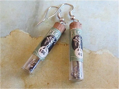STeampunk earrings - Vial-able Time  - Steampunk jewerly made with real vintage watch parts