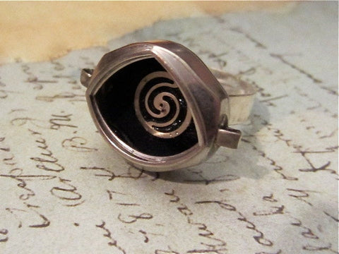 Helicoid- Steampunk Ring - Repurposed art