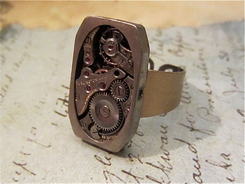 The works- Steampunk Ring - Repurposed art