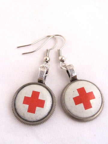 Rescued  XI- Steampunk Earrings - Made with Real Vintage Red Cross Pins from the 1920's