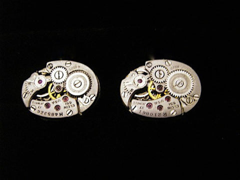Steampunk Cufflinks - Elgin - Steampunk - Cufflinks - Cuff Links -Repurposed - Up cycled