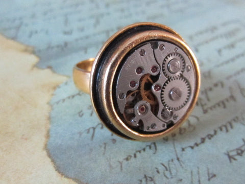 Steampunk ring - Sphere- Steampunk jewelry made with real vintage watch parts