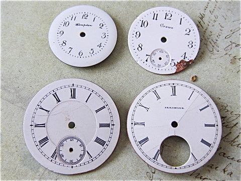 Vintage Antique porcelain pocket Watch Faces - Q32
