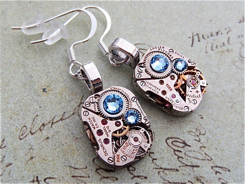 Steampunk ear gear - Aquamarine - Steampunk Earrings