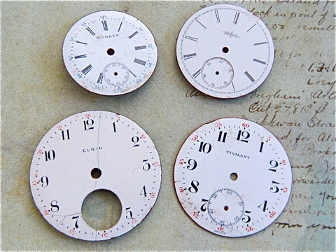 Vintage Antique porcelain pocket Watch Faces - g32