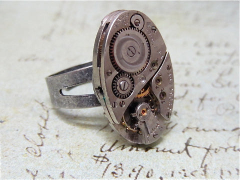 Steampunk Ring - Ovoid - Steampunk jewelry made with vintage watch parts