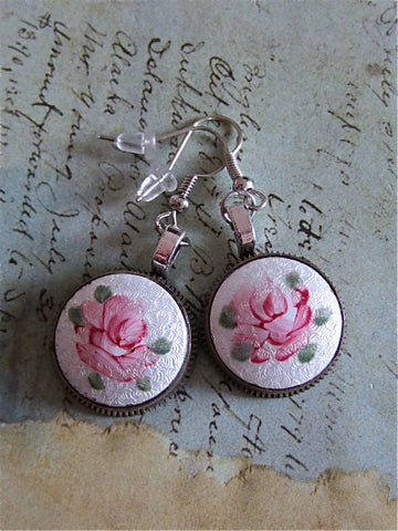 Steampunk Earrings - Remember -Steampunk jewelry made with real Vintage porcelain inserts and pocket watch gears.
