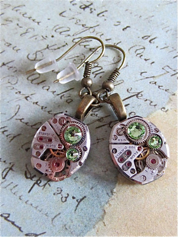 Steampunk ear gear - Peridot - Steampunk Earrings