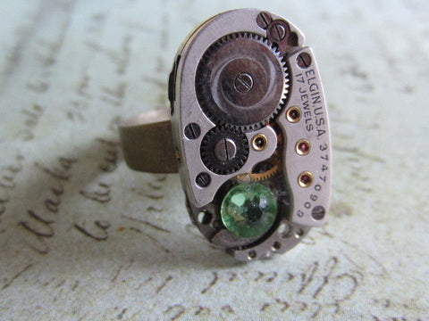 Steampunk Ring - Peridot