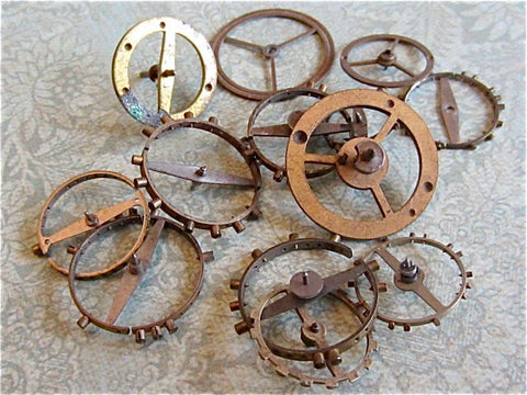 Vintage WATCH PARTS gears - Steampunk parts - H75 Listing is for all the watch parts seen in photos