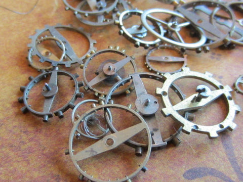 Vintage WATCH PARTS gears - Steampunk parts - d4 - Listing is for all the watch parts seen in photos