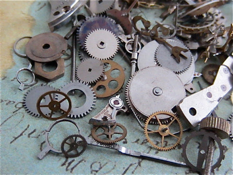 Steampunk supplies - Vintage WATCH PARTS gears - Steampunk parts - d87 - Listing is for all the watch parts seen in photos