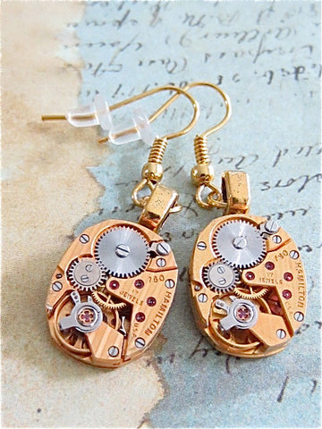 Gold Hamilton  - Steampunk Earrings - Watch Movements -  Repurposed art