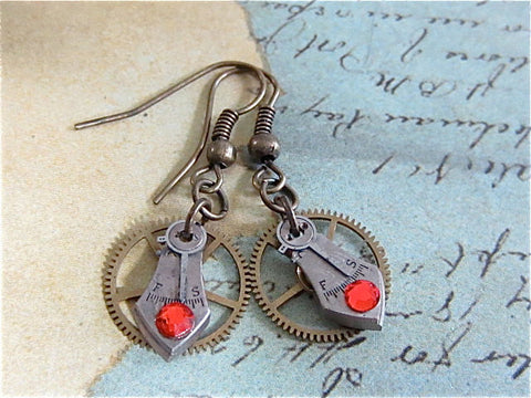 Steampunk Earrings - Precious Time  - Steampunk jewelry made with real vintage watch parts