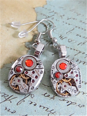 Steampunk ear gear - Hyacinth - Steampunk Earrings