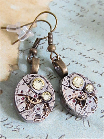 Steampunk Earrings - Citrine  - Steampunk Jewelry - Repurposed upcycled recycled one of a kind