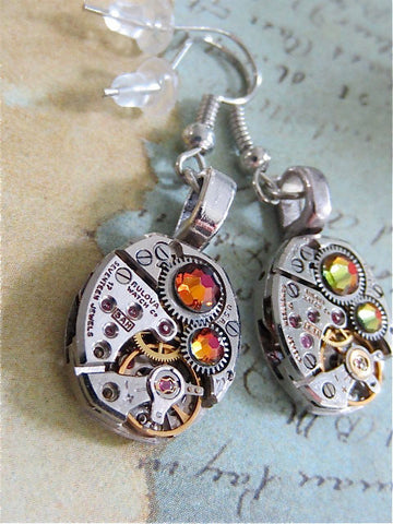 Steampunk ear gear - Volcano - Steampunk Earrings