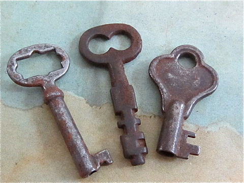Skeleton Keys - Vintage Antique keys-  Barrel keys -  F78