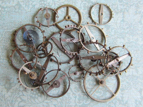 Vintage WATCH PARTS gears - a94 - Listing is for all the watch parts seen in photos