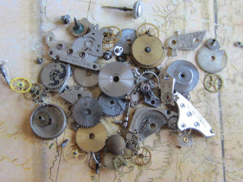Vintage WATCH PARTS gears - f74 - Listing is for all the watch parts seen in photos