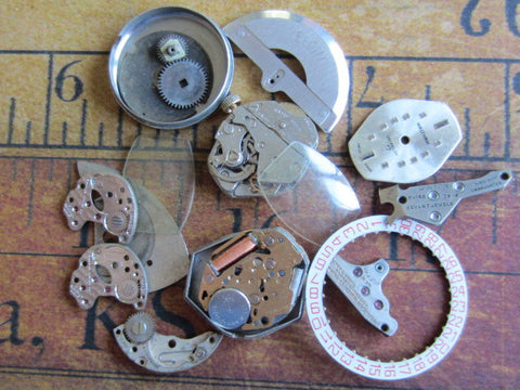 Vintage WATCH PARTS gears - Steampunk parts - j54 - Listing is for all the watch parts seen in photos