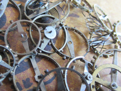 Vintage WATCH PARTS gears - Steampunk parts - t45 - Listing is for all the watch parts seen in photos