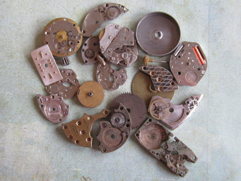 Vintage WATCH PARTS gears - Steampunk parts - v98 - Listing is for all the watch parts seen in photos