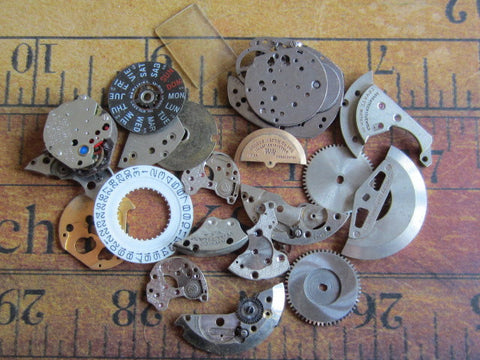 Vintage WATCH PARTS gears - Steampunk parts - q83 - Listing is for all the watch parts seen in photos