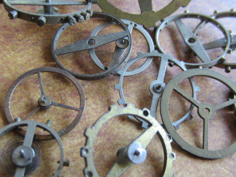 Vintage WATCH PARTS gears - Steampunk parts - c3 - Listing is for all the watch parts seen in photos