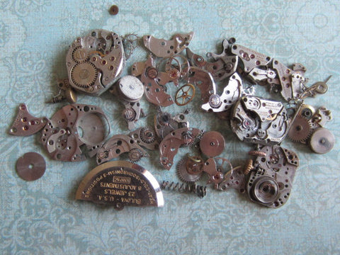 Vintage WATCH PARTS gears - Steampunk parts - a71 - Listing is for all the watch parts seen in photos