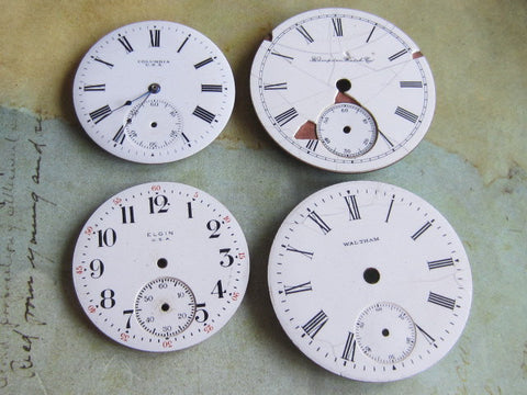 Vintage Antique porcelain pocket Watch Faces - d6