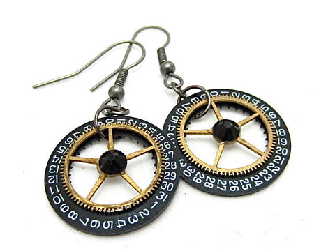 Steampunk ear gear -  Pendulum  - Steampunk Earrings - Repurposed art
