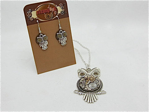 Steampunk owl earring pendant gift set - Steampunk Necklace - Steampunk earrings - Owls