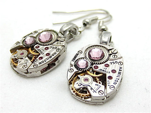 Steampunk earrrings  - Light Amethiyst - Hamilton - Steampunk jewelry made with real vintage watch parts