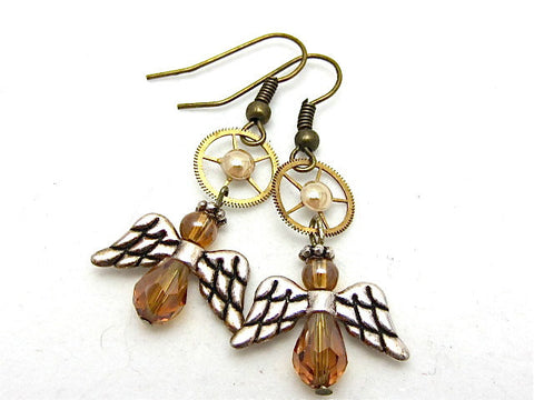 Steampunk ear gear - Angel - Steampunk Earrings - Repurposed art