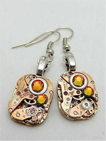 Steampunk Earrins - Watch movement Earrings - Gleam - Steampunk jewelry made with real watch parts