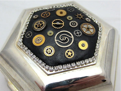 Steampunk Jewelry Box Victorian Style Velvet lined Vintage