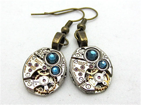 Steampunk Earrings - Deep Blue - Unique - One of a kind - Great for stocking stuffer or birthday gift
