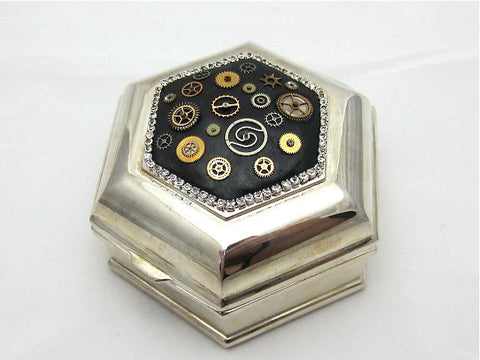 Steampunk Jewelry Box - Victorian Style - Velvet lined - Vintage hinged Jewelry Box
