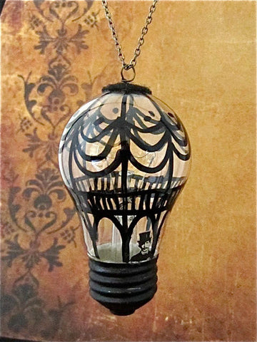 Steampunk Christmas ornament - Hot air balloon - Hand painted ornament - Victorian Ornament - One of a kind