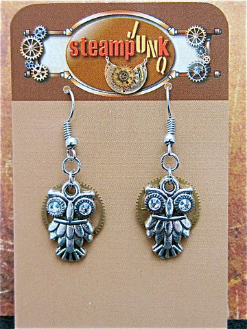 Steampunk owl earring - Steampunk earrings - Owls