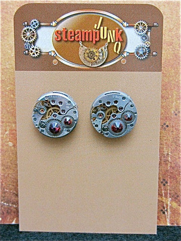 Steampunk Stud Earrings with Mechanical Watch Movements and Real Swarovski crystals, Steampunk Earrings , Steampunk jewelry